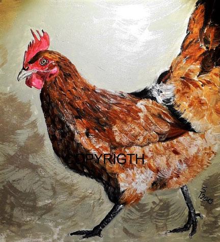 Huhn mit braunen Federn und rotem Kamm ist seitlich im Laufschritt dargestellt