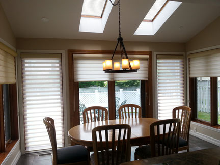 This client thoroughly enjoys the light control and privacy from her Hunter Douglas Pirouettes.