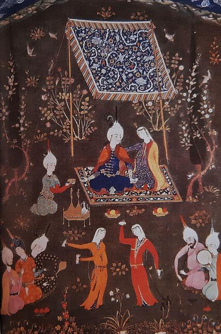 Miniatura (Persia 1533) Amanti con musici e danzatori - dal libro ''Kahlil Gibran e il suo tempo''