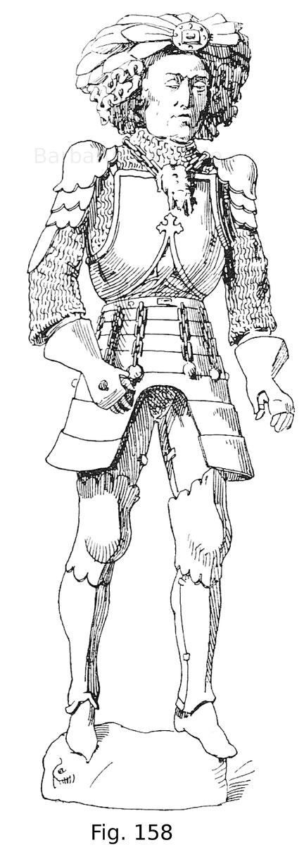 Fig. 158. Holzstatuette Herzog Philipps des Guten von Burgund (1419—1467). Kopie einer Statue vom Ende des 15. Jahrhunderts am Stadthaus zu Amsterdam, die 1652 beim Brand zerstört wurde. Arbeit des Artur Quellinus. Nach van der Kellen, Nederlands Oudheden