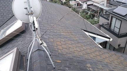 宮代町の戸建住宅、屋根塗装工事前の写真
