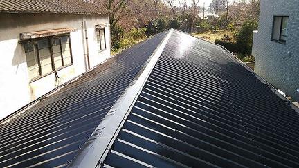 松戸市の、屋根塗装工事完了の写真