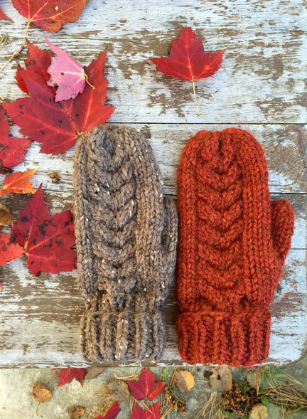 Reverse cable chunky knit mittens (click on the picture for more information)