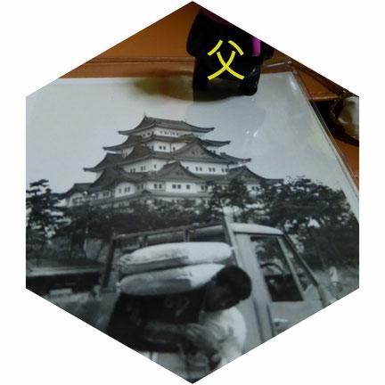 六角形中に名古屋城と父の写真