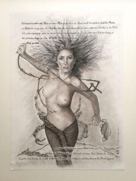 sam wolf_zeichnung_von simone müller_zur kurzen Erzählung_das Unrecht_frau_portrait