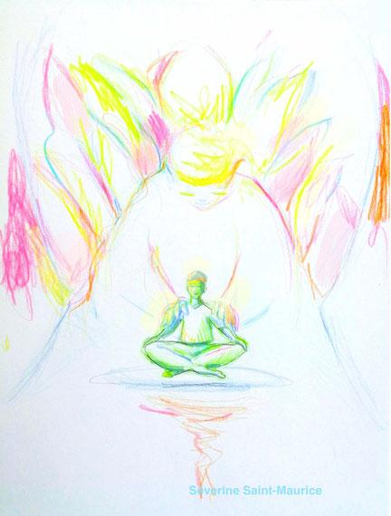 dessin. dessiner en conscience. lescerclesdelumiere.com. Tours 37000. Séverine Saint-Maurice. conscience. Ange
