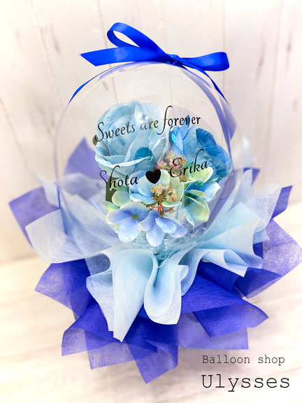 結婚祝い バルーン電報 バルーンアート フラワーインバルーン 花 バルーンブーケ 名前入り バルーンギフト