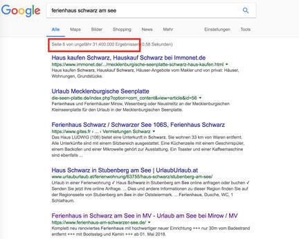 Webseite Google Ranking, Webseite für Ferienwohnung