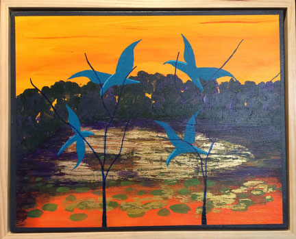 """Bird Patrol at the Pond"" 54cm x 44cm Multi Media on Canvas, pine wood frame $350 (excluding freight)"