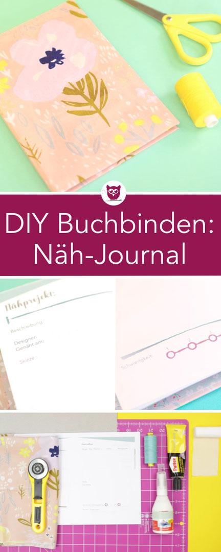 DIY Buchbinden: Hardcover Notizbuch selber basteln mit Cover aus Stoff und Motivpapier. Kostenlose Druckvorlage für Näh-Journal / Näh-Planer. DIY Anleitung von DIY Eule und Kreativgefühl.