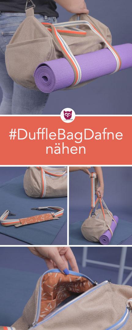 #DufflebagDafne nähen: Sporttasche / Duffle Bag mit Futter, Schulterpolster, Reißverschluss und Yogamattenhalterung Anleitung und Schnittmuster von DIY Eule aus dem #DIYeuleBuch
