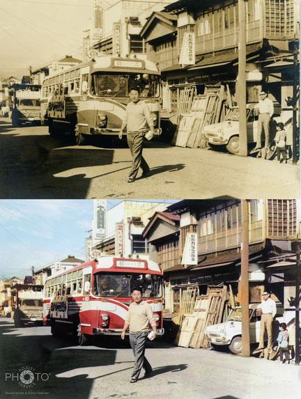 修復・色再現 作業前→作業後比較 昭和30年代の秋田市大町にて