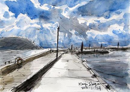 藤沢市江ノ島・片瀬漁港の空