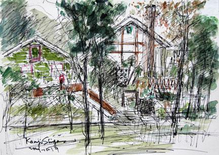 東京都・町田市の芹が谷公園周辺の家々