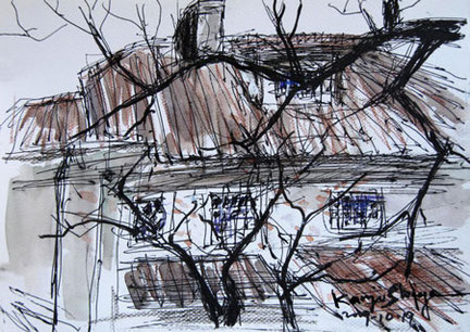 鎌倉・浄妙寺の石窯ガーデンテラスの屋根