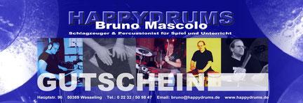 Happydrums Gutschein für Schlagzeugunterricht