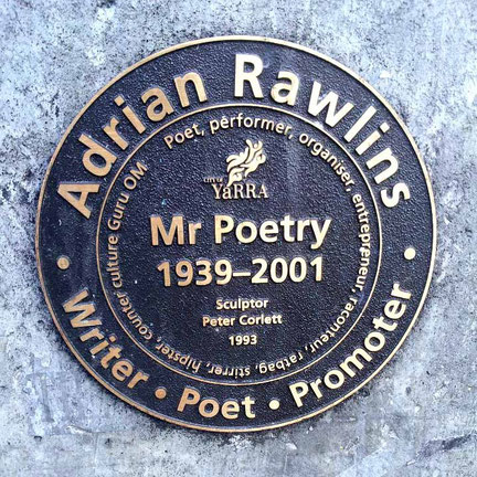 This plaque is placed at the base of Adrian's statue