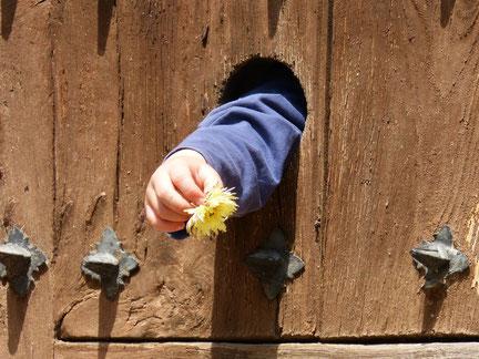 Hier ein Kind, welches eine Blume durch ein Zaunloch reicht, da man den Aufzug im Brandfall nie benutzen sollte.