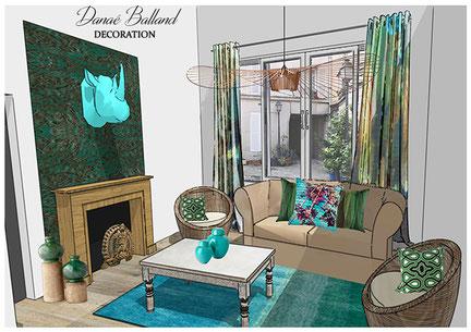 Croquis perspective appartement exotique Danaé Balland décoration