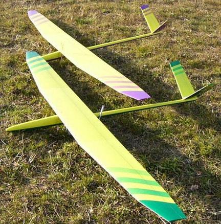 2 planeurs radiocommandés Arkanj Aeromod dans l'herbe, un jaune et vert, un jaune et violet