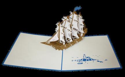 Carte Pop-Up Bateau bleu