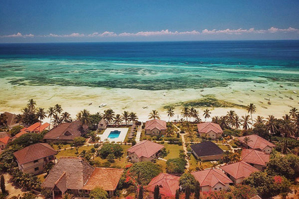 Holiday Retreat Zanzibar - aerial view of beautiful resort directly located at the sea in Tazania
