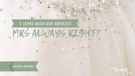 """Edelsteine liegen auf weißem Tüll. Aufschrift """"5 Jahre nach der Hochzeit - Mrs. Always right""""."""