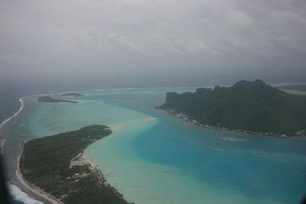 Lagon de Bora Bora au décollage
