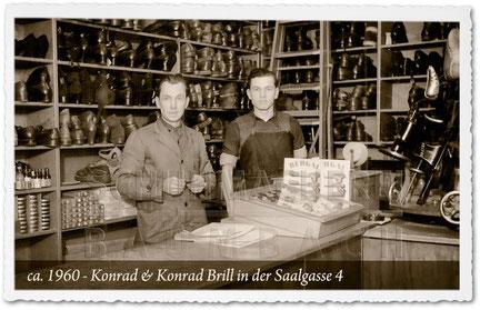 Schuhmacherei Baumbach -1960 Schuhmacheremiester Konrad & Konrad Brill in der Saalgasse 4 in Wiesbaden