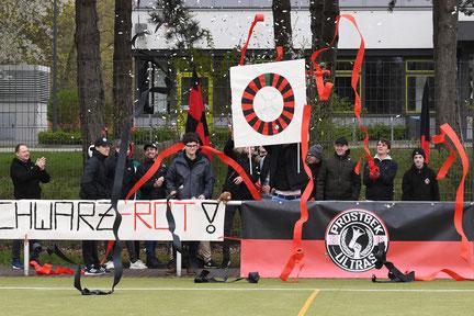 Daran hat es sicherlich nicht gelegen: Die Prostbek Ultras sorgen auch auswärts für gute Stimmung
