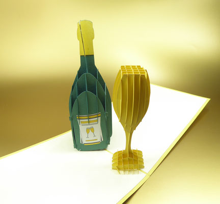 Carte pop-up Champagne - Carte kirigami Champagne - Carte 3D bouteille de champagne