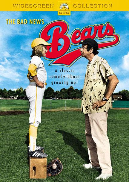"""Nella foto la locandina del film """"The Bad News Bears"""" (Che botte se incontri gli Orsi) con Tatum O'Neal e Walter Matthau"""