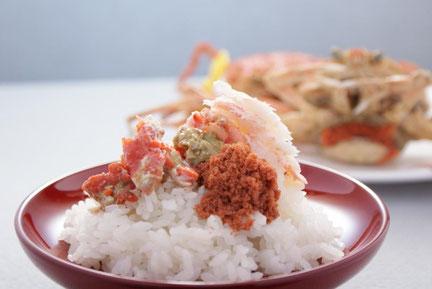 天たつ せいこ蟹_せいこ蟹の身と内子、外子、ミソを集め酢醤油をたらしてご飯にのせる「蟹丼」は絶品です