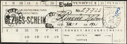 Bezugsschein für Helene Pincus aus dem Ghetto Theresienstadt