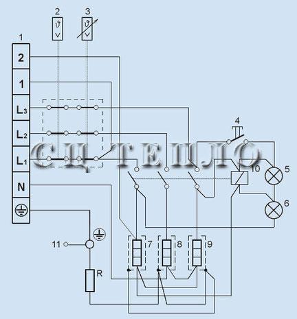 Электрическая схема трёхфазного водонагревателя Татрамат  EO 80 -150/380