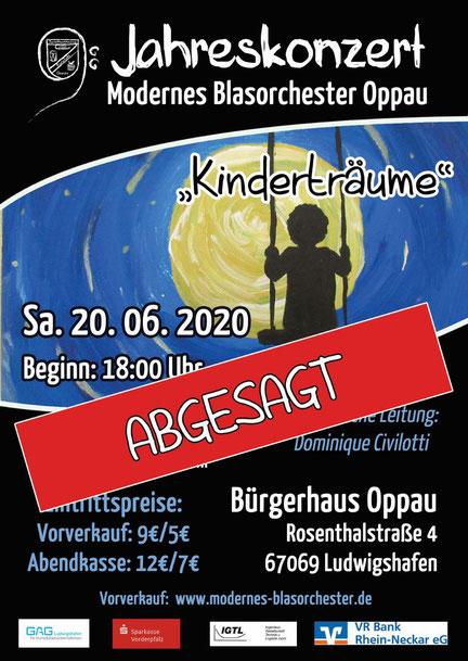 Abgesagt: Das Jahreskonzert des Modernen Blasorchesters Kurpfalz Oppau entfällt leider dieses Jahr