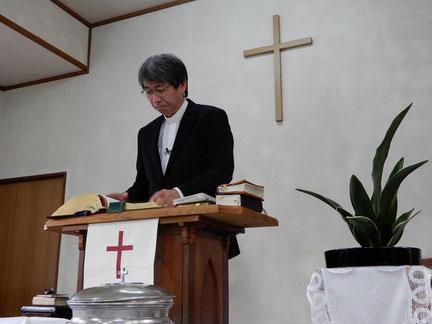 2019年1月の日曜日 十文字平和教会の講壇にて 森牧師