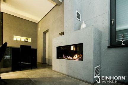 betonoptik Kamin in grau tönen, edel und puristisch zugleich