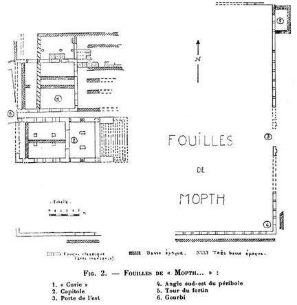 Mons (Mopth...) : Plan de la citadelle byzantine