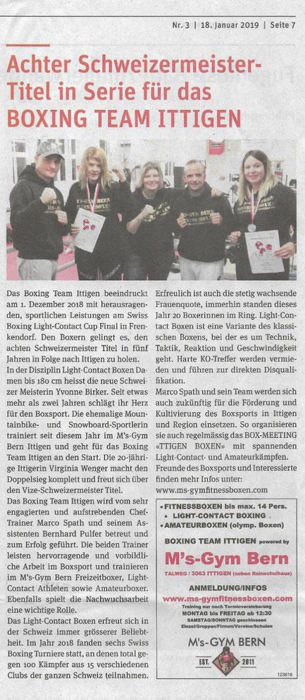 Zeitung Fraubrunner Anzeiger, Ausgabe Januar 2019 BOXING TEAM ITTIGEN @ M's-Gym Bern