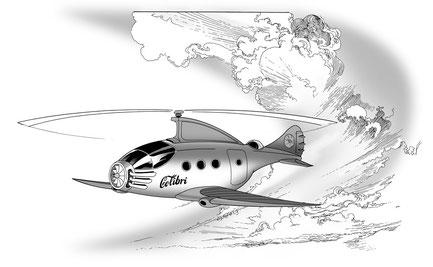 The Colibri, Doc Wilde's autogyro, zooms across the sky...