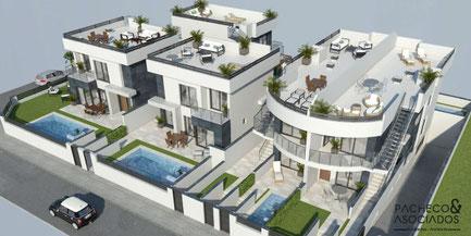 Vista de las 3 villas y los 4 apartamentos de la urbanización Torre del Rame (Los Alcázares)