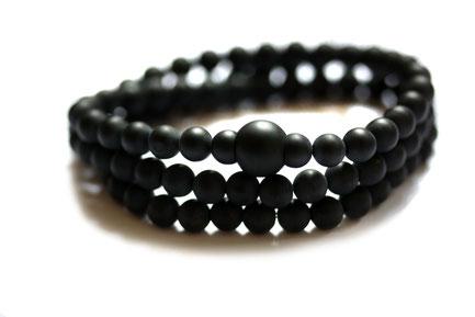 Herren Wickelarmband Onyx Perlenarmband schwarz Männer Berlin Armband