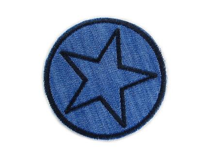 Bild: Jeansflicken Stern schwarz, Hosenflicken Stern Knieflicken Jeansstoff