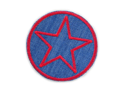 Bild: Jeansflicken Hosenflicken Stern rot, Knieflicken aus Jeansstoff