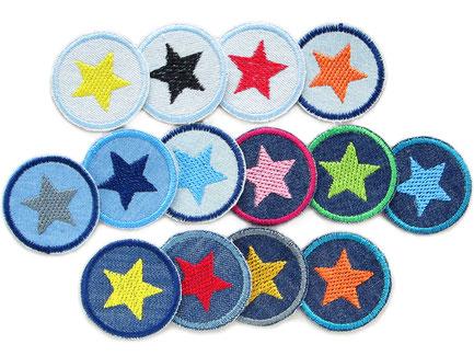 Mini Jeansflicken Hosenflicken Stern Set Patch gestickt Flicken zum aufbügeln