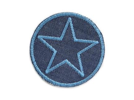 Bild: Jeansflicken Stern grau, Hosenflicken Stern Knieflicken aus Jeansstoff