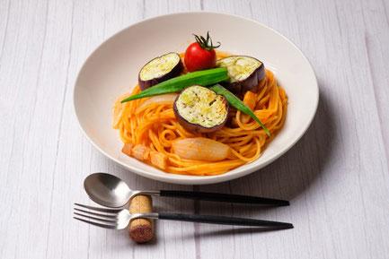 夏野菜のトマトスパゲティ。