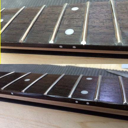 指辺りを良くするリペア。低価格帯の楽器では特に効果大です。