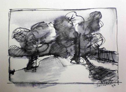 """""""Baumgruppe"""", 2010, Skizze mit Feder / Tusche"""